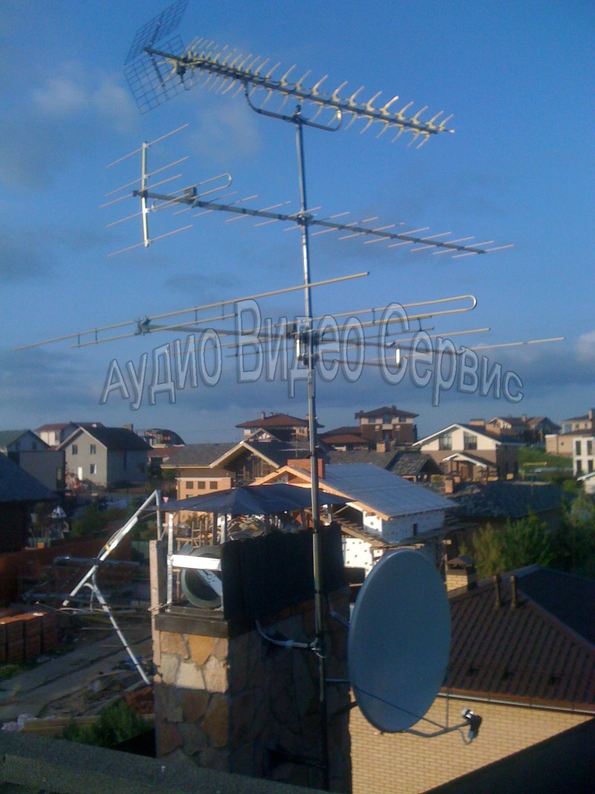 установка спутниковой тарелки и комплекса из трех антенн
